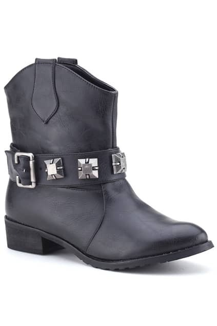 Pin Buckle Rivet Black Ankle Boots