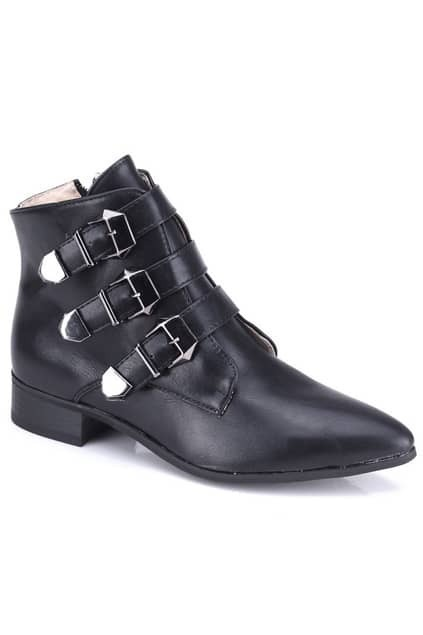 Silver Buckle Black Ankle Boots
