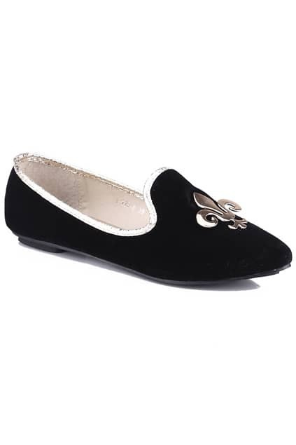 Golden Spearhead Black Flat Shoes
