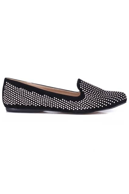 Beads Embellished Black Flat Shoes