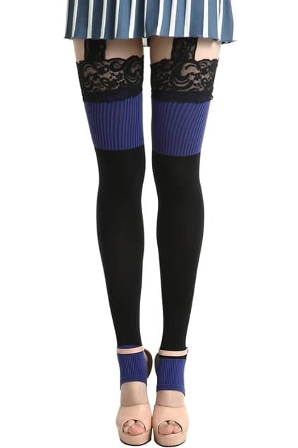 Lace Purple Suspender Tights
