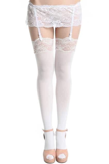 Pure White Suspender Tights