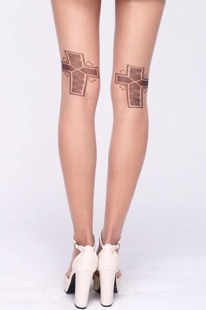Cross Heart Print Nude Tights