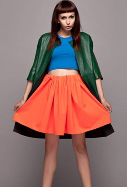 Orange Main Pleated Skirt