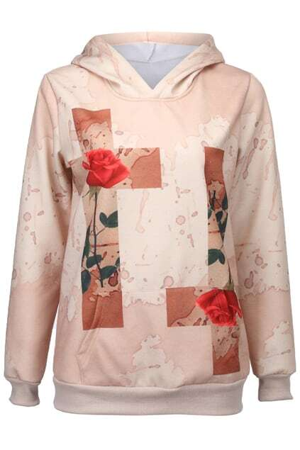 Rose-Crossed Print Hooded Sweat Hoodie