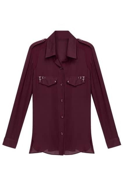 Rivets Embellished Retro Semiperspective Claret-red Shirt