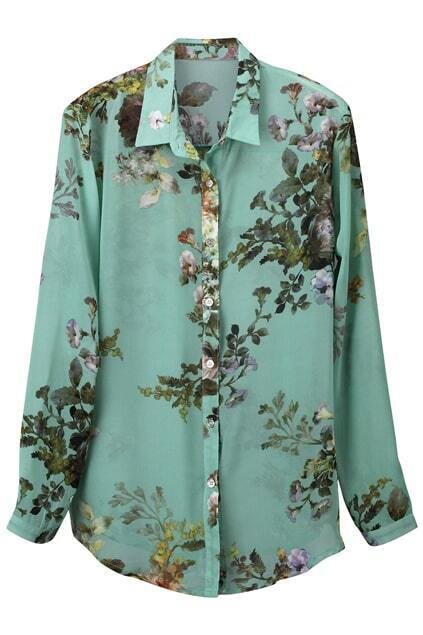 Floral Print Green Blouse