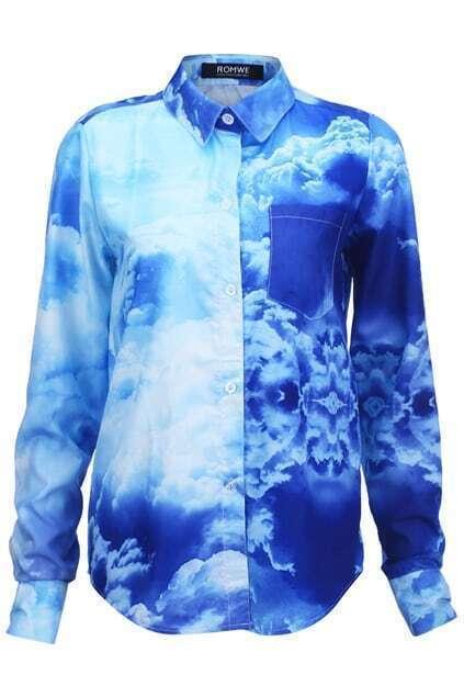 Blue Sky Print Buttoned Shirt