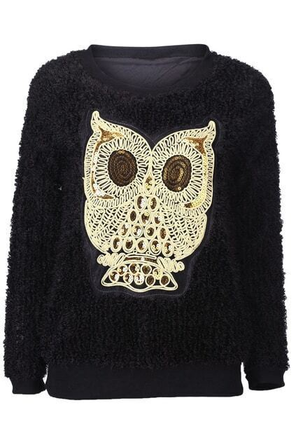 Owl Embroidery Black Pullover