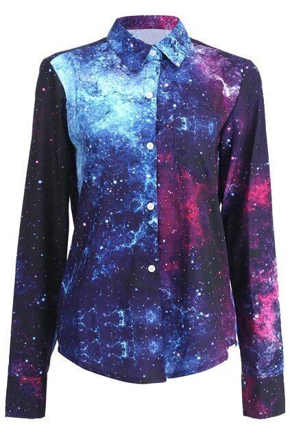 Single-breasted Stars Print Shirt