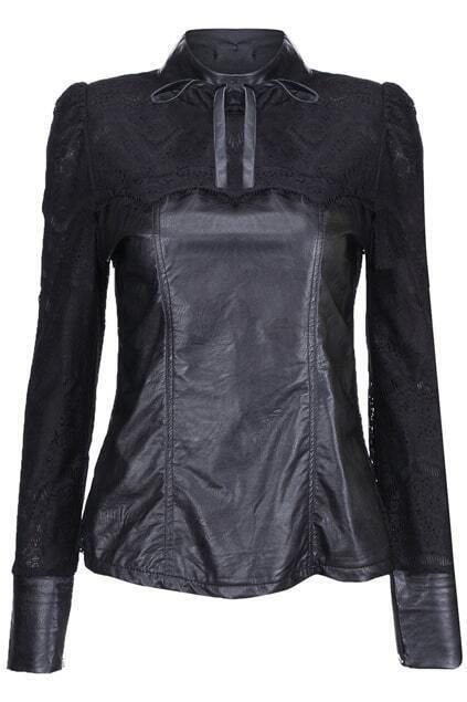 Spliced Bow Embellished Zippered Black Pullover