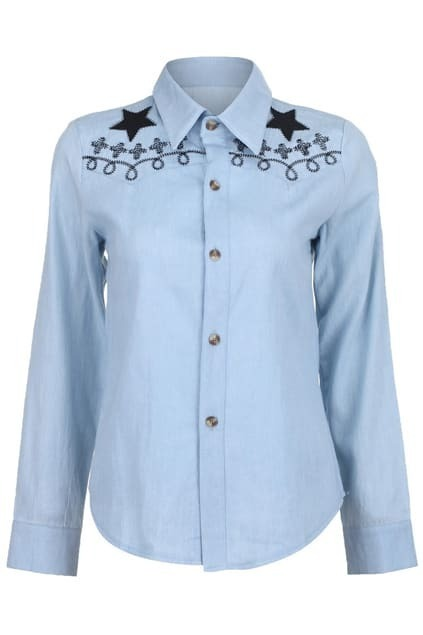 Stars Crosses Embroidery Light-blue Shirt