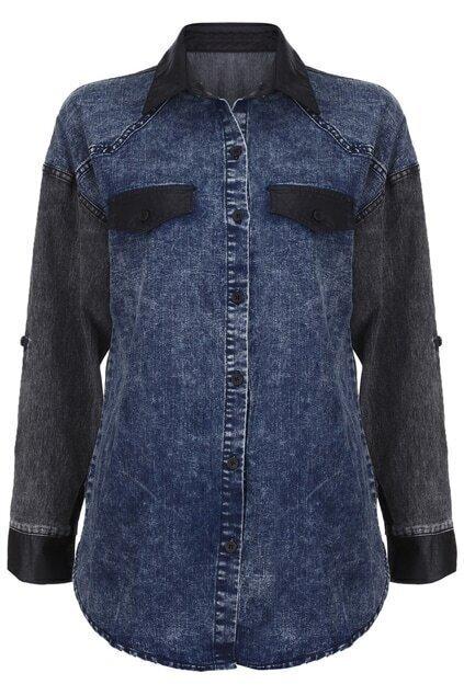 Retro Single-breasted Blue Shirt