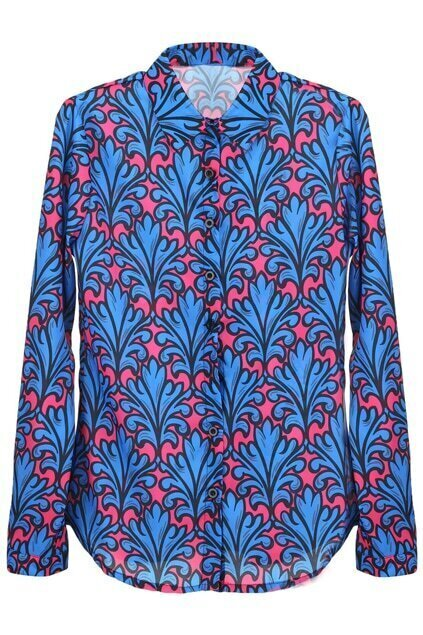 Single-breasted Flowers Print Blue Shirt