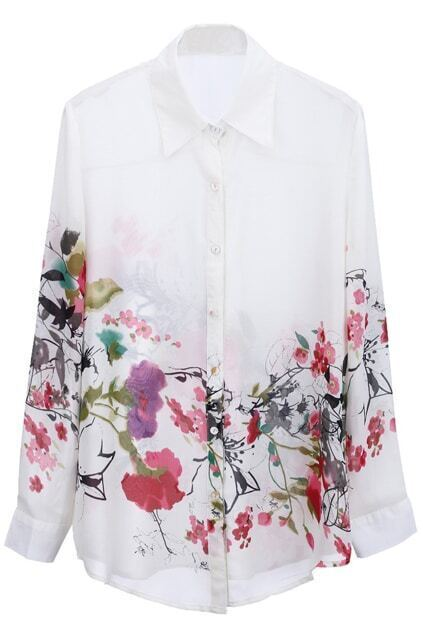 Wash Painting Print White Chiffon Shirt