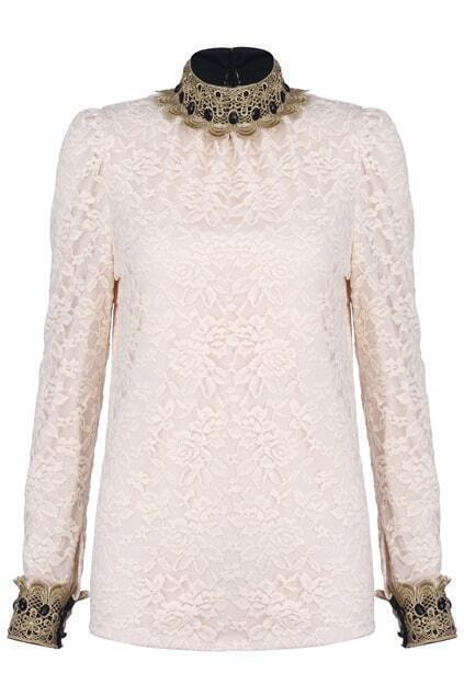 Hollow Embroidery Apricot Blouse