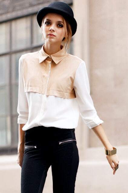 Suede Spliced Single-breasted White Chiffon Shirt