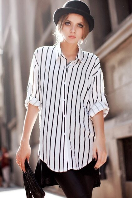 Single-breasted Vertical Stripes Black-white Shirt