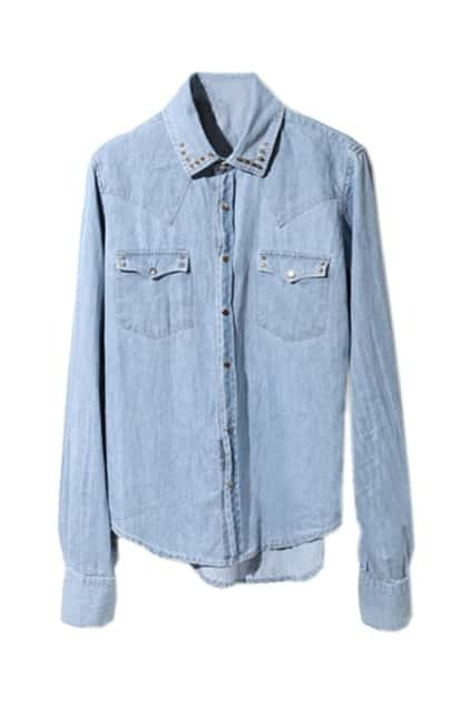 Metal Rivet Rinse Pockets Denim Blouse