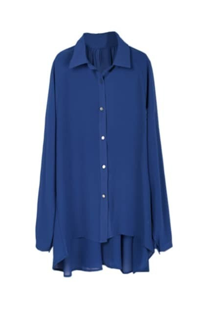 Batwing Sleeves Royal Blue Blouse