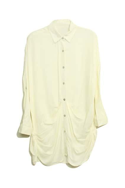 Pleat Bat-wing Sleeve Cream Blouse