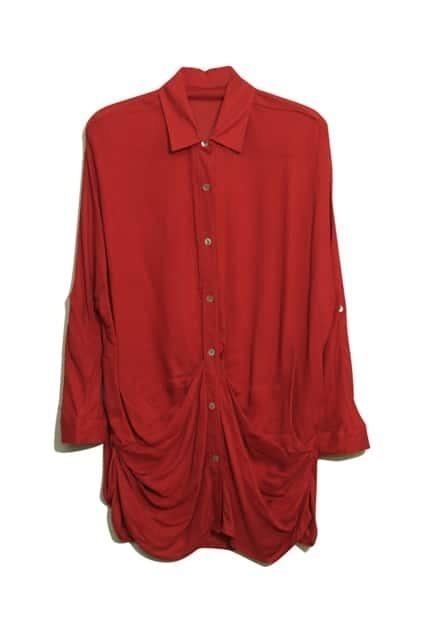 Pleat Bat-wing Sleeve Red Shirt