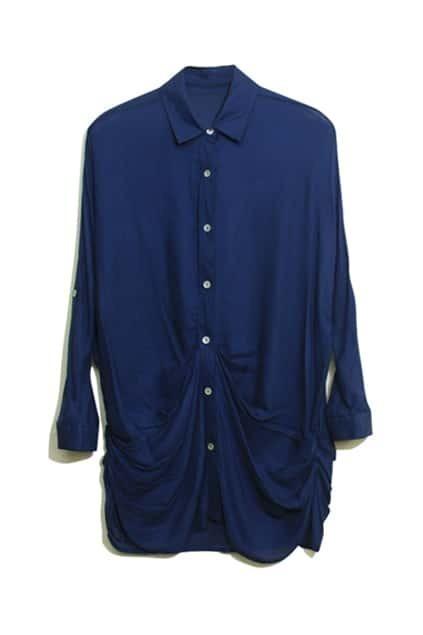 Pleat Bat-wing Sleeve Navy Blue Blouse