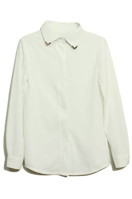 Metal Pointed Collar White Blouse