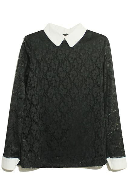 Lace Pointed Lapel Black Blouse