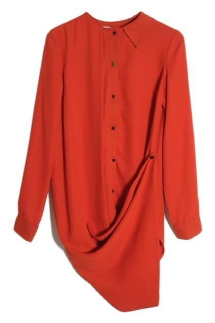 Occident Style Asymmetric Button Red Shirt
