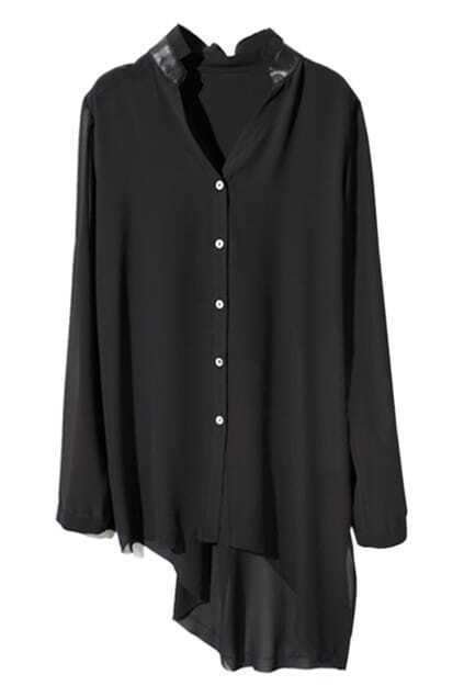 Asymmetric Lap Black Chiffon Blouse