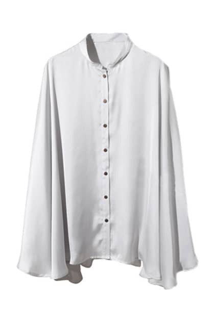 Cape Style Light Grey Blouse