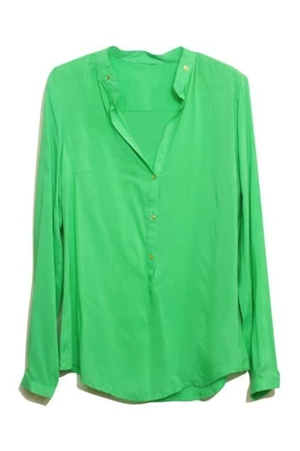 V-neck Rivets Embellishment Green Shirt
