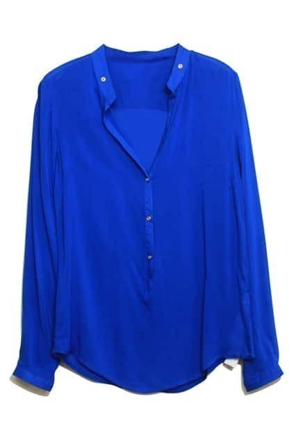 V-neck Rivets Embellishment Blue Shirt