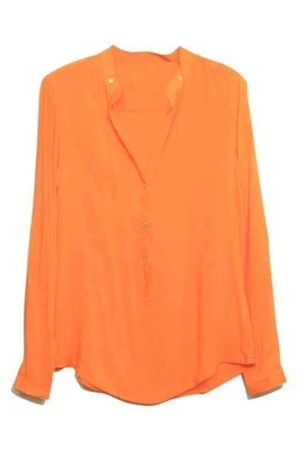 V-neck Rivets Embellishment Orange Shirt