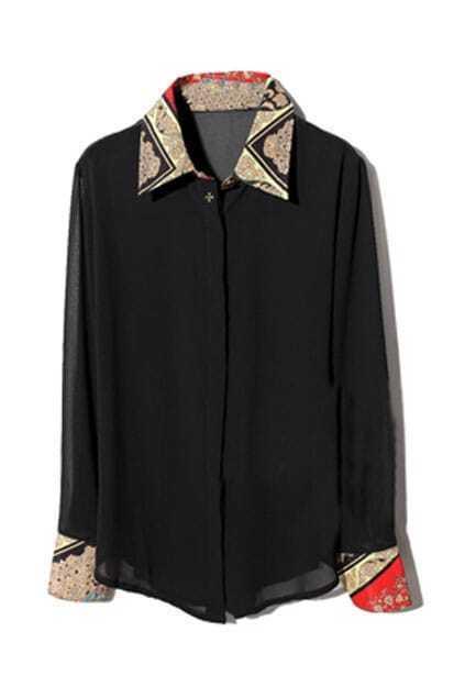 Baroque Print Persoective Black Shirt