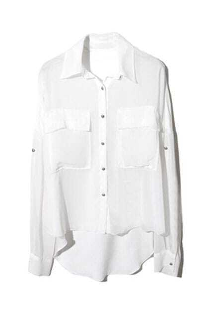 Single-breasted Asymmetric Laminations White Shirt