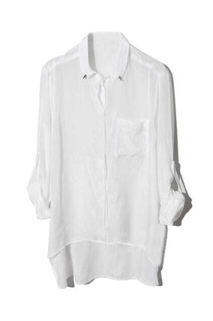Asymmetric Rivets Embellished Lapel White Shirt