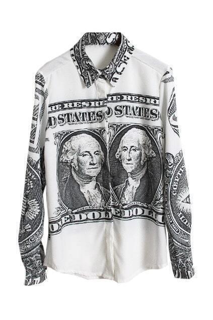 US Dollar Print White Blouse
