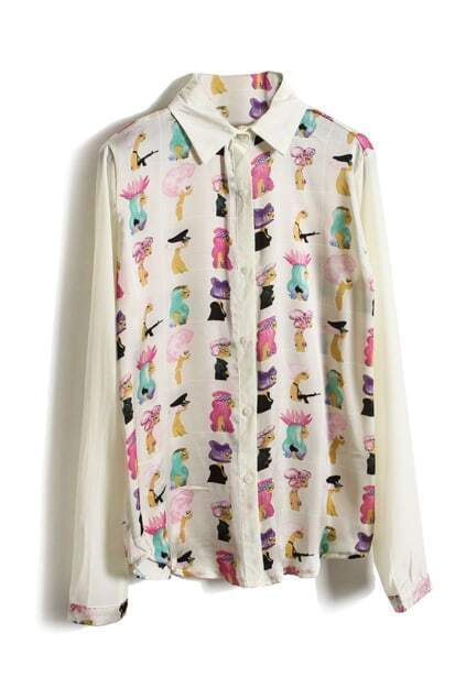 Cartoon Fashionable Lady Print Apricot blouse
