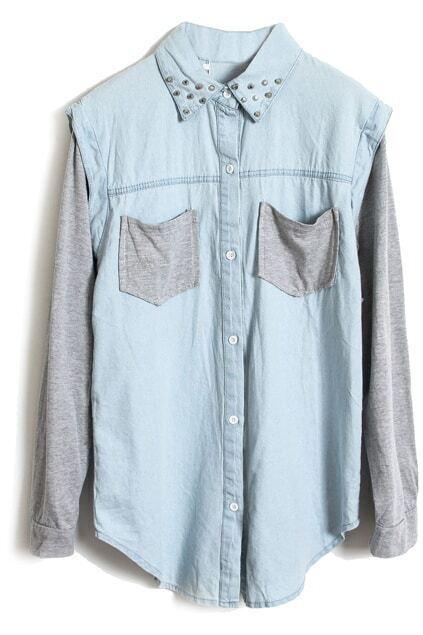 Blue-Grey Block Rivet Collar Denim Blouse