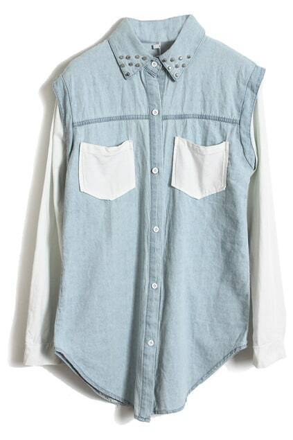 Blue-white Block Rivet Collar Denim Blouse