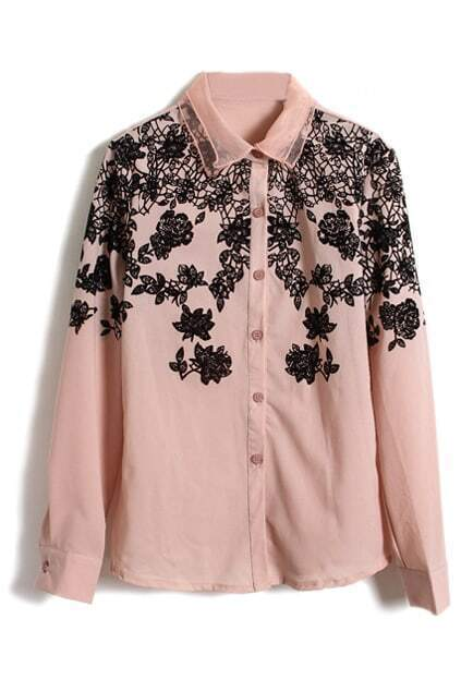 Flocking Floral Pink Buttoned Blouse