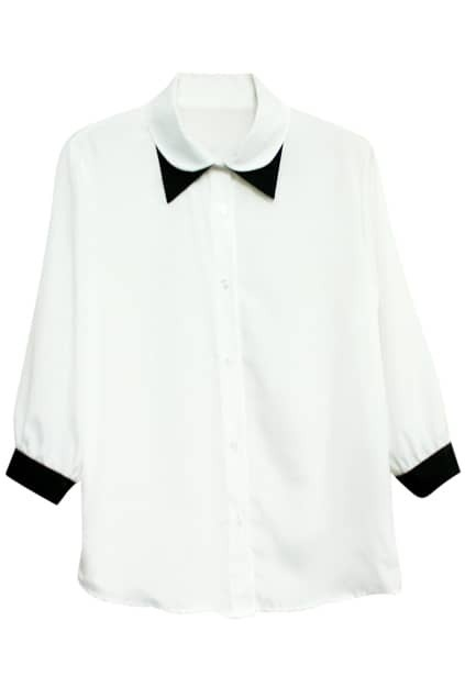 Double Neck Pointed Collar White Shirt