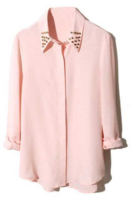 Asymmetric Rivets Embellished Lapel Nude Shirt