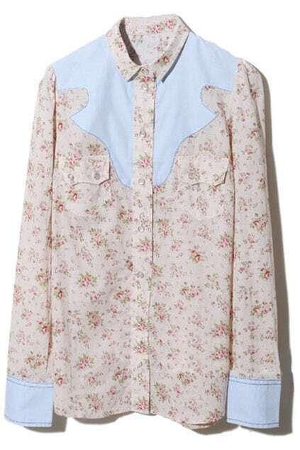 Spliced Geometry Floral Shirt