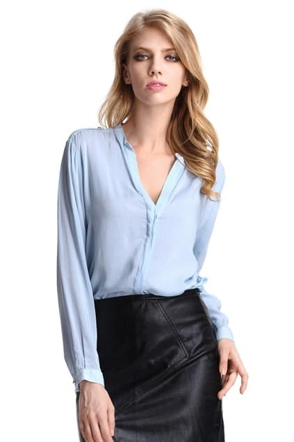 V-neck Shoulder Cards Light-blue Shirt