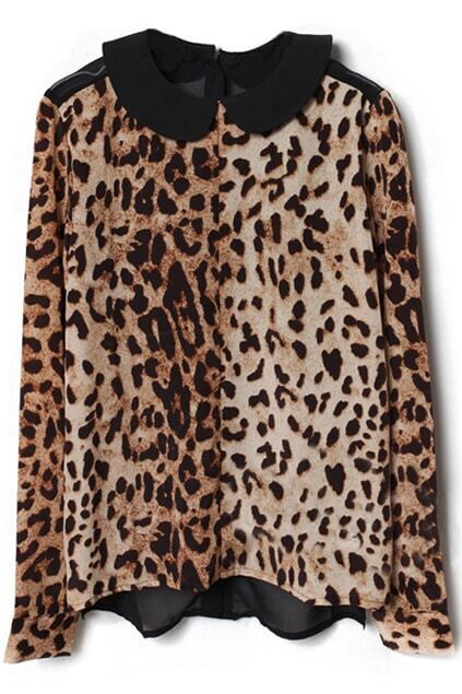 Spliced Buttoned Back Coffee Leopard Blouse