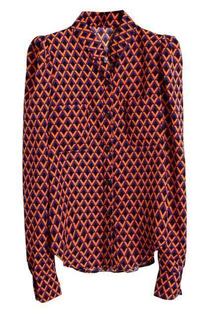 Asymmetric Single-breasted Rhombus Print Blue-red Shirt