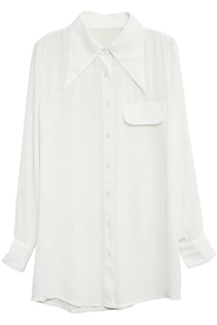 Point Collar White Shirt